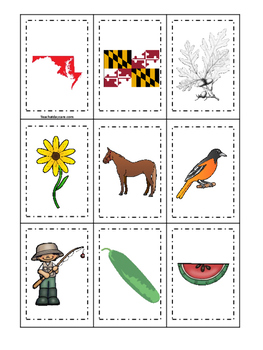 Maryland themed Memory Matching and Word Matching preschoo