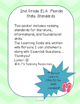 """ELA- Marzano """"I can"""" Statements and Essential Questions- 2"""