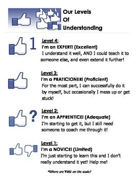 Marzano Levels of Understanding Poster (Facebook Theme)