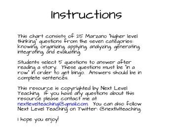 Marzano Reading Questions Bingo Board (Common Core Aligned)