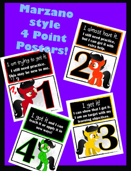 Marzano style 4 point posters - pony - levels of learning
