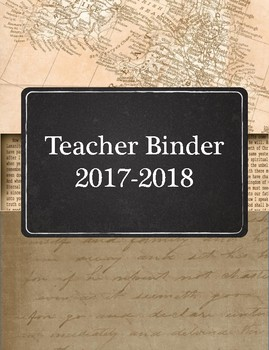 Masculine Teacher Binder with sepia maps, chalkboard, and