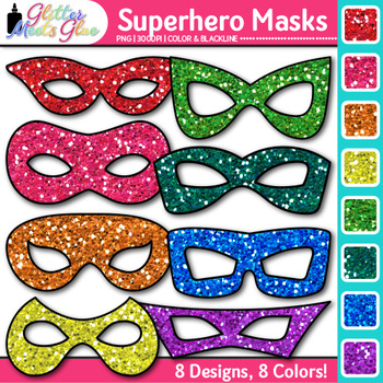 Halloween and Superhero Mask Clip Art - Photo Booth Masks
