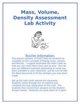 Mass, Volume, Density Task Cards/Lab Activity