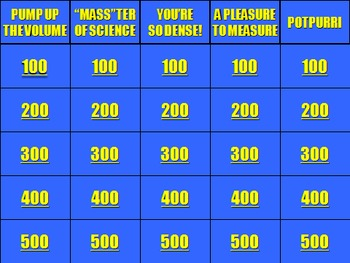 Mass, Volume, and Density Jeopardy!