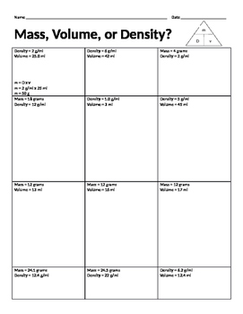 Mass, Volume, or Density?