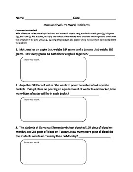 Mass and Volume Word Problem Worksheet (Common Core Standa