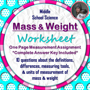 Mass and Weight Worksheet: A Science Measurement Resource