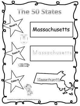Massachusetts Read it, Trace it, Color it Learn the States