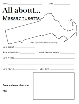 Massachusetts State Facts Worksheet: Elementary Version