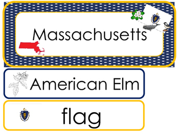 Massachusetts State Word Wall Bulletin Board Set. Geograph
