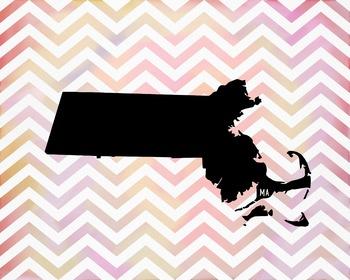 Massachusetts Chevron State Map Class Decor, Government, G