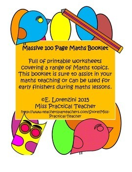 Massive 100 Page Maths Booklet with Cover