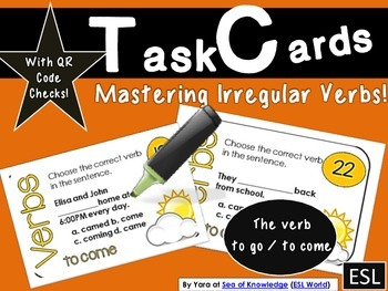 Verb Task Cards {to go / to come 28 cards + QR Code Check}