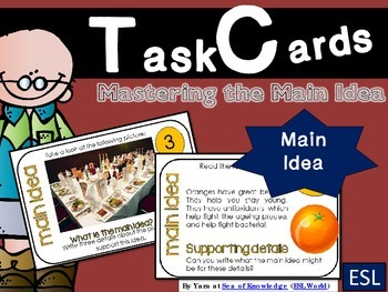 Finding the Main Idea Task Cards {24 Cards for ESL Beg - I