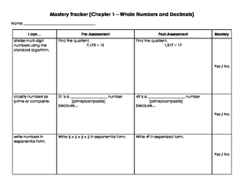 Mastery Trackers for Entire 6th Grade Math Common Core Curriculum