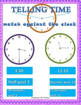 Match Against Time! Telling Time Game