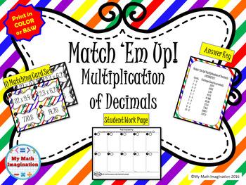 Match 'Em Up! - Multiplication of Decimals, includes Whole