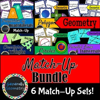 Match-Up Bundle; Circles, Lines, Angles, Polygons, Quadril