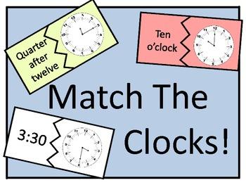 Match the Clocks to the Quarter, Half and Hour