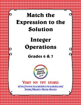 Match the Expression to the Solution - Integer Operations