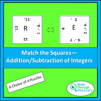 Match the Squares Puzzle - Addition and Subtraction of Int