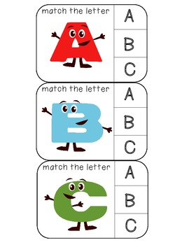 Match uppercase to uppercase letters clothespin activity cards