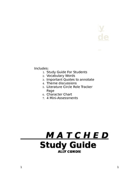 Matched by Ally Condie Complete Unit