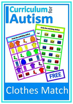 Matching Clothes & Colors Autism Special Education FREEBIE