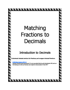 Matching Fractions to Decimals Intro; 4.NF.C.5, Tenths and