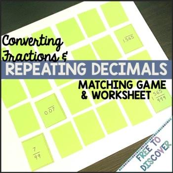Repeating Decimals Matching Game