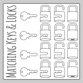 Matching Keys and Locks Line Art Clip Art Set for Commercial Use