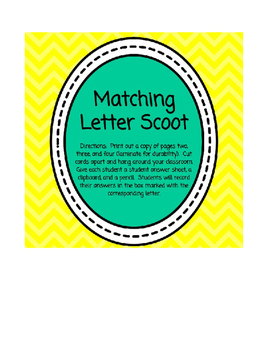 Matching Letters Scoot or Scavenger Hunt