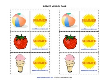 Matching Memory Game with Summer Theme - 12 pairs color ca
