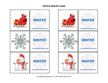 Matching Memory Game with Winter Theme - 12 pairs color ca