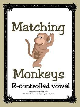 R-Controlled Vowel File Folder Game: Matching Monkeys