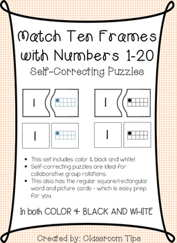 Matching Numbers with Ten Frames 1-20 (Self-Correcting Puzzles!)