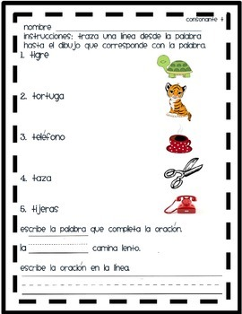 Matching Pictures with the syllable Tt in spanish