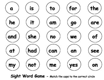 Matching Sight Words or Letters
