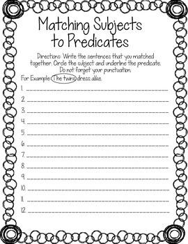 Matching Subjects to Predicates Worksheet