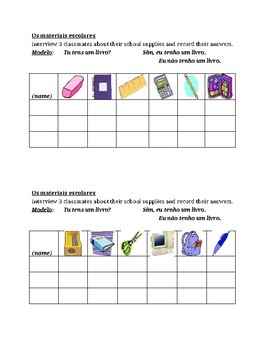 Material escolar (School objects in Portuguese) Speaking activity