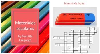 Materiales Escolares Presentation and Crossword