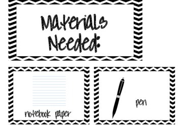 Materials Needed Posters Black Chevron