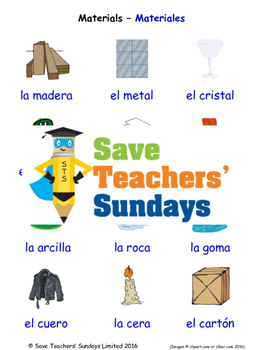 Materials in Spanish Worksheets, Games, Activities and Fla