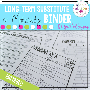 {Editable} Maternity/Long-Term Substitute Packet for Speec