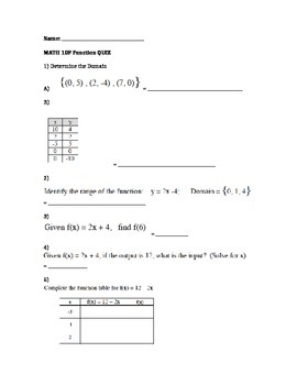 Math 10 FMP Functions Quiz