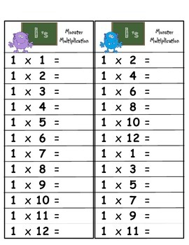 Math Multiplication 1/2 Page Cards (Clothespins)