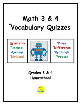Math 3 & 4 Vocabulary Quizzes