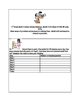 Math-3rd Grade-Month  03: Challenge Problem Solving (Quest