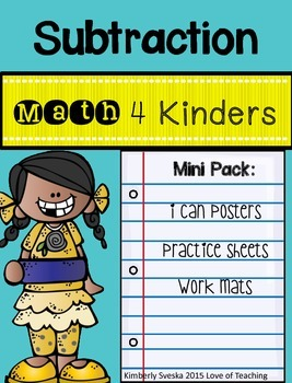 Math 4 Kinders: Subtraction Pack